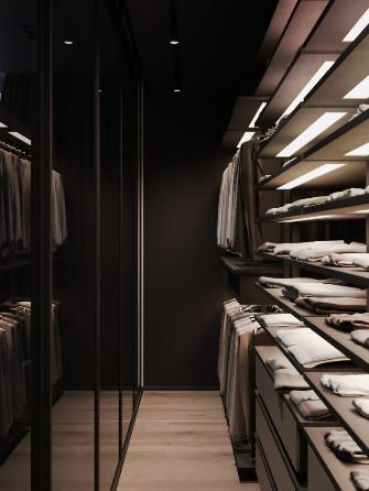 L'illuminazione di una cabina armadio.