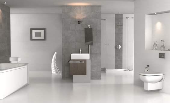 Un bagno con sanitari sospesi.